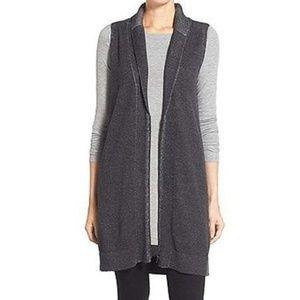 Eileen Fisher long Gray Zippered sleeveless vest